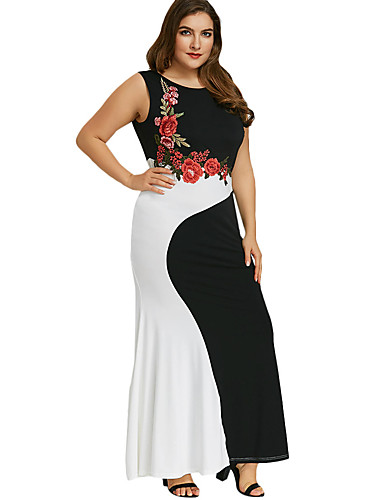 voordelige Grote maten jurken-Dames Standaard Elegant Bodycon Recht Schede Jurk - Geometrisch Kleurenblok, Patchwork Midi