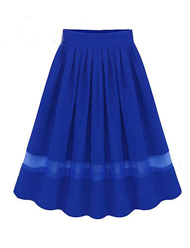 abordables Jupes-Femme Basique Trapèze Jupes - Couleur Pleine Mosaïque Noir Rose Claire Bleu Roi Taille unique