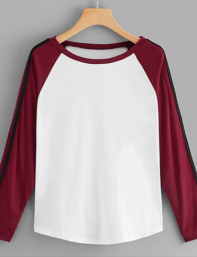 abordables Hauts pour Femmes-Tee-shirt Femme, Bloc de Couleur - Coton Mosaïque Basique Ample Blanche