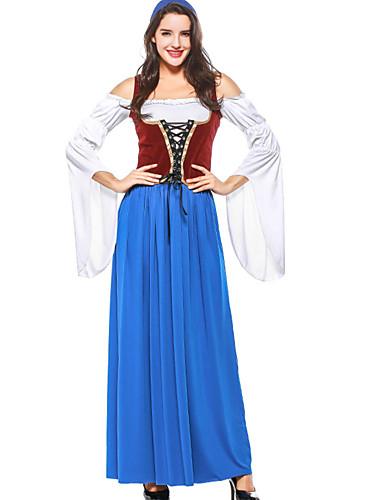billige Karnevalkostymer-Oktoberfest Dirndl Trachtenkleider Dame Kjole bayerske Kostume Blå