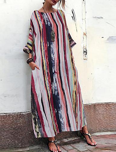 voordelige Maxi-jurken-Dames Street chic Elegant A-lijn Tuniek Wijd uitlopend Jurk - Geometrisch Kleurenblok, Print Tot de knie
