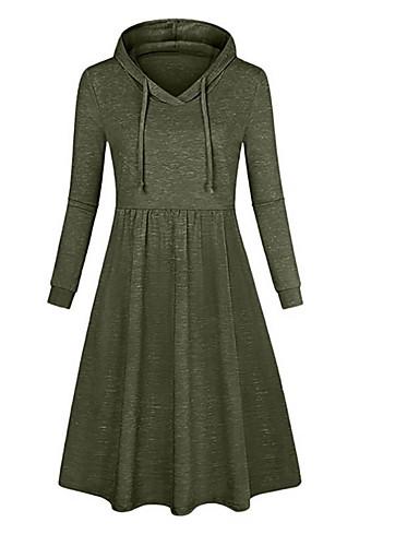 abordables Robes Femme-Femme Basique Mi-long Gaine Robe Couleur Pleine Vert Noir Rose Claire XL XXL XXXL Manches Longues