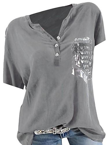 billige Dametopper-T-skjorte Dame - Tegneserie / Bokstaver Grønn US8 / UK12 / EU40