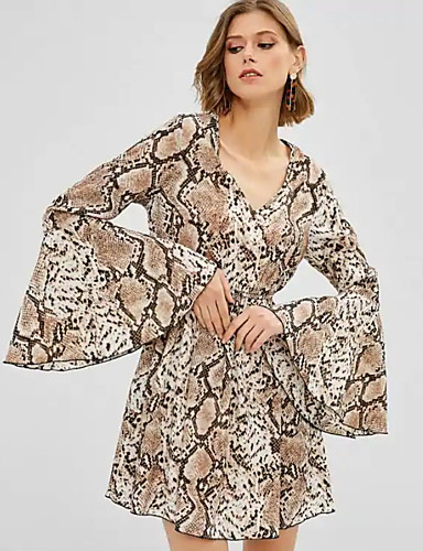 Kadın's Zarif A Şekilli Elbise - Hayvan, Desen Diz üstü