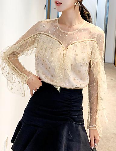 billige Topper til damer-Skjorte Dame - Ensfarget, Blonde / Drapering / Lapper Grunnleggende Beige