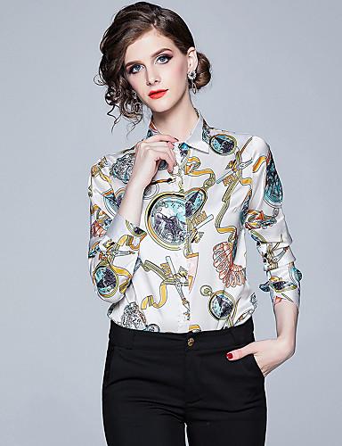 povoljno Majica-Majica Žene - Elegantno Ured / Karijera / Formalan Grafika Kragna košulje Print Obala