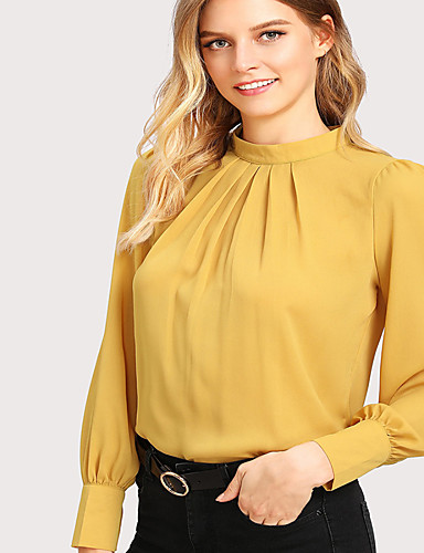 billige Topper til damer-Løstsittende Skjorte Dame - Ensfarget, Flettet Gatemote / Elegant Rosa