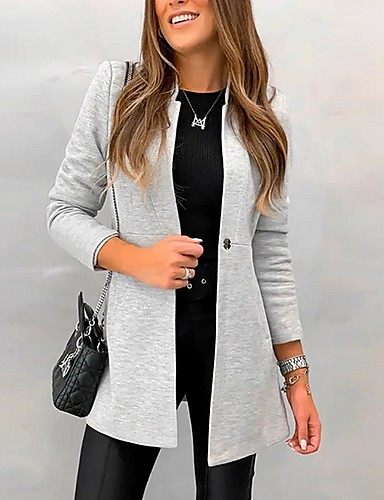 preiswerte Damen Überbekleidung-Damen Alltag Herbst Lang Mantel, Solide Ständer Langarm Polyester Blau / Schwarz / Grau