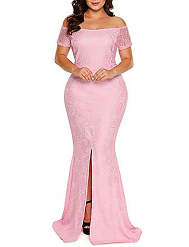voordelige Grote maten jurken-Dames Feest Elegant Skinny Bodycon Jurk - Effen, Kant Strapless Maxi Hoge taille Stoffige roos / Sexy