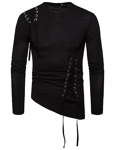 voordelige Heren T-shirts & tanktops-Heren Street chic Veters EU / VS maat - T-shirt Effen Ronde hals Slank Zwart / Lange mouw