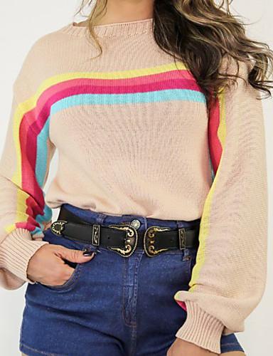 povoljno Ženski džemperi-Žene Prugasti uzorak Dugih rukava Kardigan, Okrugli izrez Obala / Crn / Žutomrk XL / XXL / XXXL