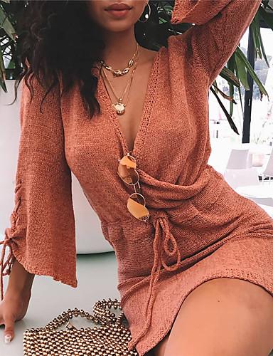 Kadın's Örgü İşi Elbise - Solid Diz üstü