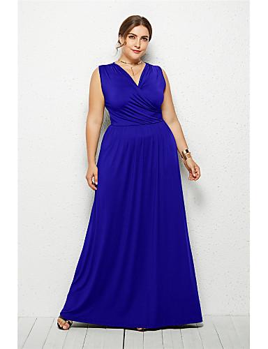 voordelige Maxi-jurken-Dames Elegant Wijd uitlopend Jurk - Effen, Blote rug Maxi