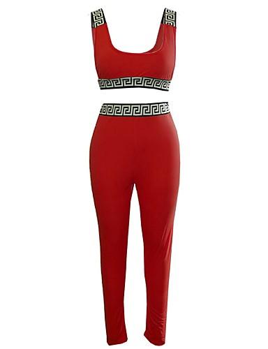 abordables Hauts pour Femmes-Rouge Couleur Pleine Coupe Standard Polyester Costume - Col Mao Sans bouton / costumes