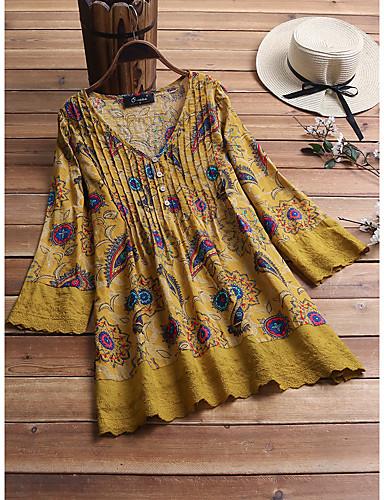 hesapli Gömlek-Kadın's Gömlek Kırk Yama, Geometrik Vintage Vişne Siyah