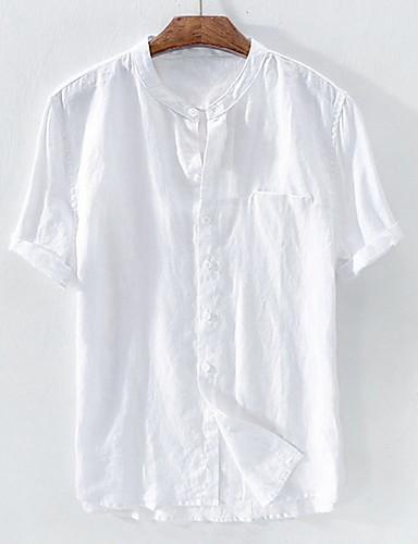 cheap Men's Shirts-Men's Daily Wear Basic Shirt - Solid Colored Patchwork Dark Gray US38 / UK38 / EU46