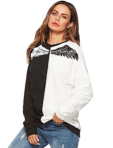 billige Topper til damer-T-skjorte Dame - Fargeblokk, Trykt mønster Grunnleggende Svart US12 / UK16 / EU44