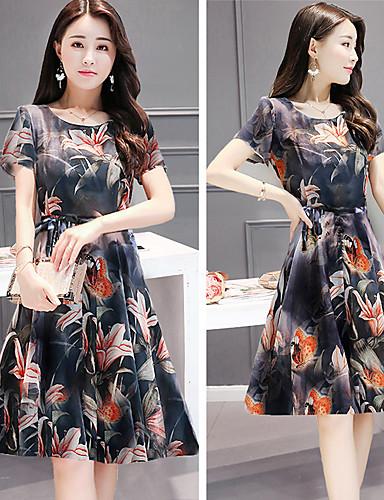 Kadın's Gömlek Elbise - Çiçekli, Desen Diz-boyu