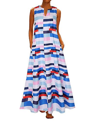 911196f4a Women's Vintage A Line Dress - Polka Dot Striped Print Blue White Red XXXL  XXXXL XXXXXL