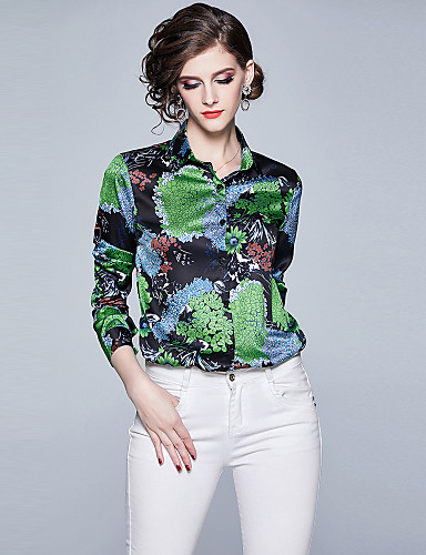 billige Dametopper-Skjortekrage Skjorte Dame - Blomstret, Trykt mønster Vintage / Elegant Tropisk blad Grønn