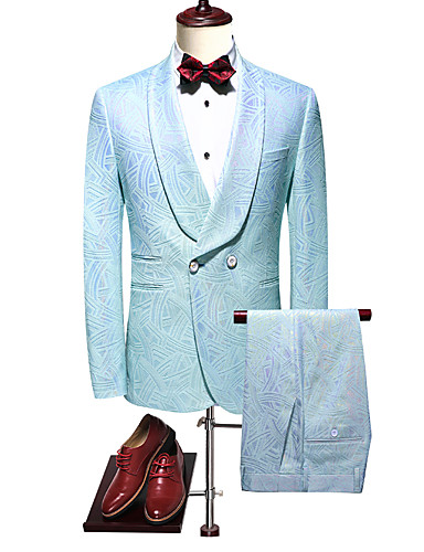 Gök Mavisi Solid Standart Kalıp Polyester Takım elbise - Şalyaka Çift Sıra Düğmeli İki-Düğme