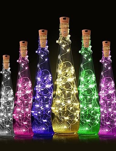 billige Holiday Decoration Light-1pc Vinflaske Stopper LED Night Light Varm hvit Dekorasjon / Atmosfære Lampe