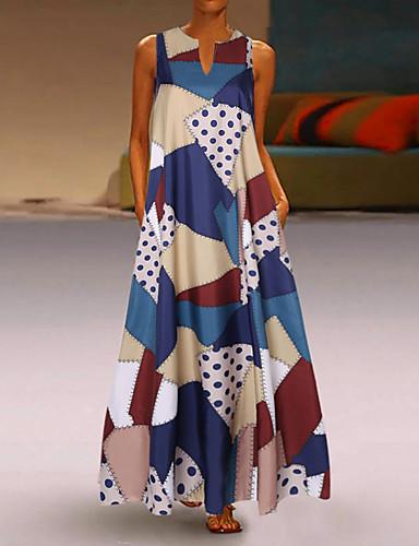 hesapli Kadın Elbiseleri-Kadın's Sokak Şıklığı Zarif A Şekilli Çan Elbise - Geometrik Zıt Renkli, Şalter Desen Maksi