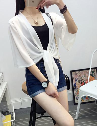 Kadın's Günlük İlkbahar yaz Normal Trençkot, Solid Yakasız Yarım Kol Polyester Beyaz Tek Boyut