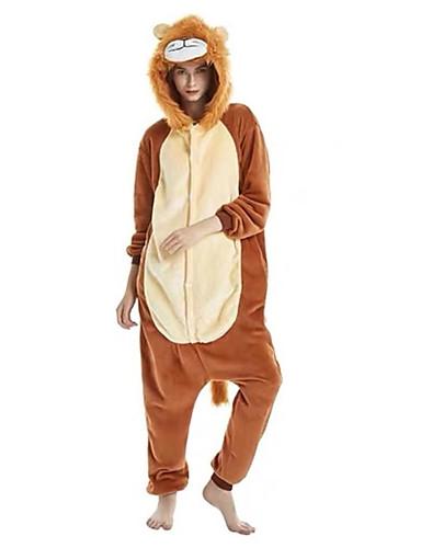 3ee67a849230 Недорогие Пижамы кигуруми-Взрослые Пижамы кигуруми Лев Цельные пижамы  Фланель Коричневый Косплей Для Муж.