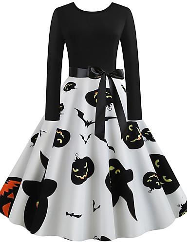 Kadın's Vintage A Şekilli Elbise - Geometrik, Desen Diz-boyu