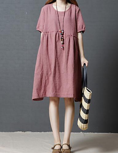 Kadın's Gömlek Elbise - Solid, Desen Diz-boyu