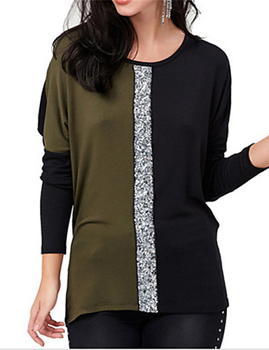 billige Dametopper-Løstsittende Bluse Dame - Fargeblokk Hvit
