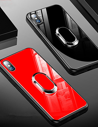 Pouzdro Uyumluluk Apple iPhone XS / iPhone XR / iPhone XS Max Şoka Dayanıklı / Satandlı / Yüzüklü Tutacak Arka Kapak Solid Sert TPU / Temperli Cam