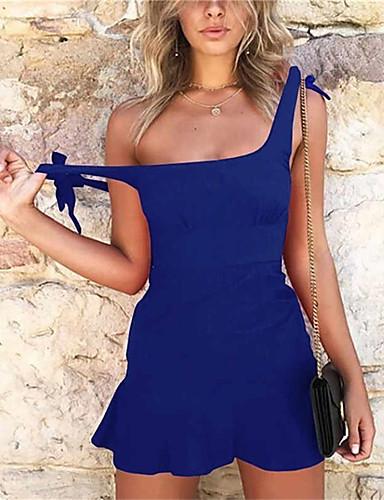 abordables Robes Femme-Femme Elégant Mini Moulante Gaine Robe - Dos Nu Lacet, Couleur Pleine Blanc Noir Rouge M L XL Sans Manches