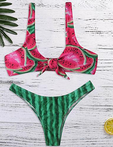voordelige Nieuwe collectie-Dames Standaard Klaver Driehoek String Bikini Zwemkleding - Fruit Blote rug S M L Klaver