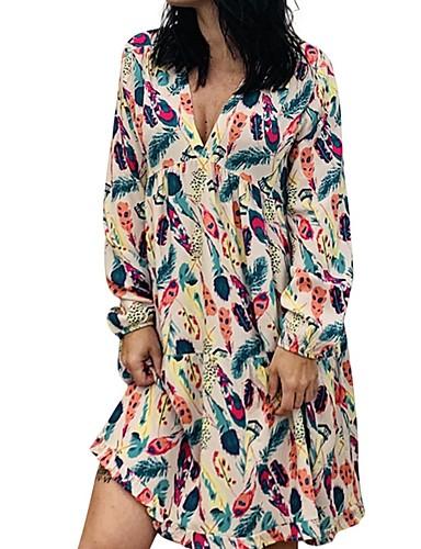 Kadın's Gömlek Elbise - Çiçekli Diz üstü