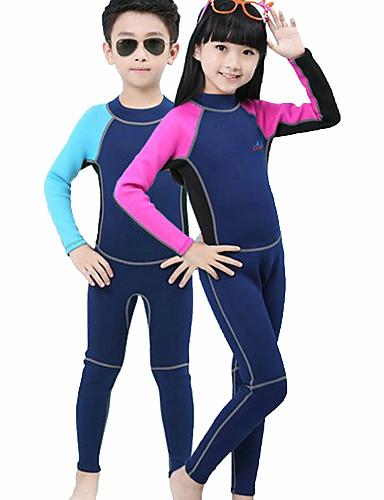 halpa Märkäpuvut, sukelluspuvut ja suoja-asut-Bluedive Poikien Tyttöjen Kokokehon märkäpuku 2mm Neopreeni Sukelluspuvut Pidä lämpimänä UV-aurinkosuojaus Nopea kuivuminen Pitkähihainen Takavetoketju - Uinti Sukellus Lainelautailu Patchwork