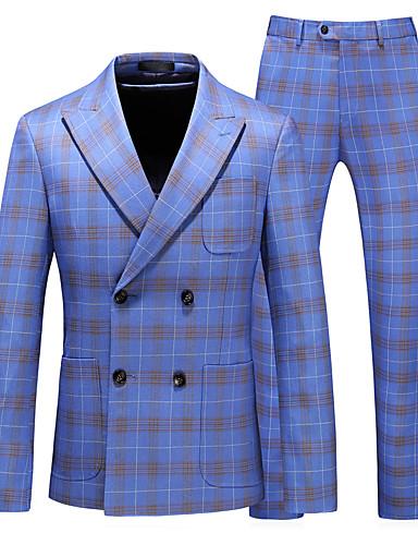 voordelige Herenblazers & kostuums-Heren Pakken, Effen Puntige revers Polyester Licht Blauw / Slank
