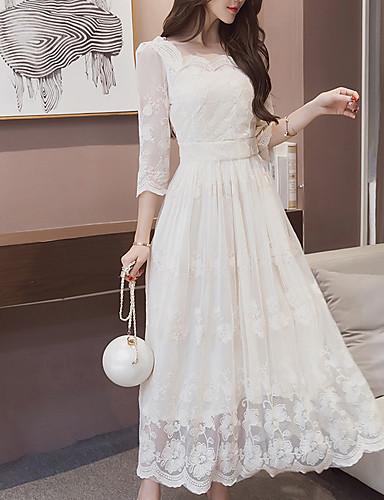 voordelige Maxi-jurken-Dames Ruimvallend Jurk - Effen Maxi Wit