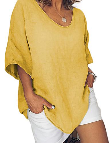 abordables Hauts pour Femme-Tee-shirt Grandes Tailles Femme, Couleur Pleine - Coton Basique / Chic de Rue énorme Gris