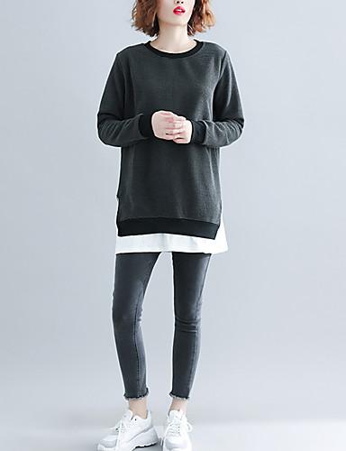 abordables Hauts pour Femme-Tee-shirt Femme, Couleur Pleine - Coton Mosaïque Sortie Chic de Rue / Elégant Ample Noir & rouge / Gris-noir Rouge