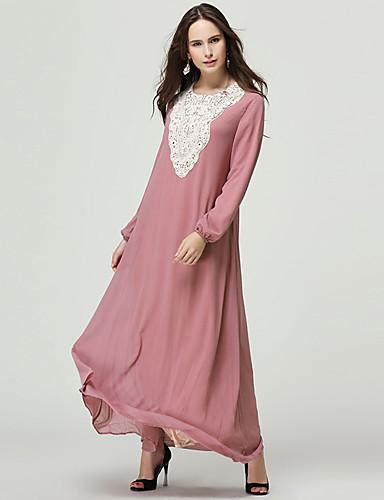 Kadın's Temel Abaya Kaftan Elbise - Zıt Renkli, Dantel Kırk Yama Maksi