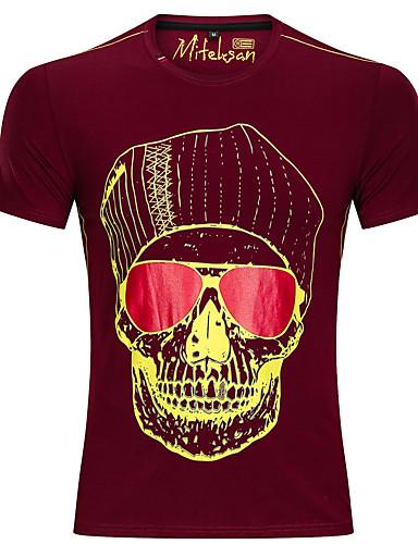 voordelige Herenbovenkleding-Heren Standaard Print T-shirt 3D / Doodskoppen Marineblauw
