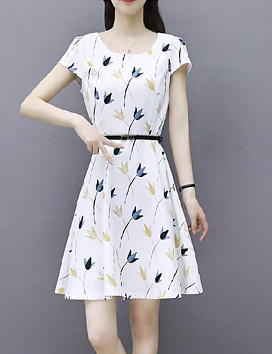 Kadın's Gömlek Elbise - Yuvarlak Noktalı, Desen Diz-boyu