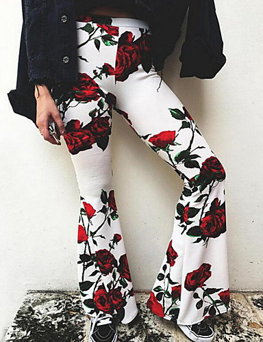 abordables Pantalons Femme-Femme Chic de Rue Chino Pantalon - Fleur Bleu Blanc Noir M L XL
