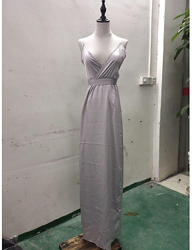 voordelige Maxi-jurken-Dames Sexy Schede Jurk - Effen, Split Bandje Maxi