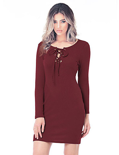 Kadın's Temel Bandaj Kılıf Elbise - Solid Diz üstü