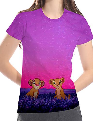 billige Topper til damer-T-skjorte Dame - Geometrisk / 3D / Dyr, Trykt mønster Grunnleggende / overdrevet Fuksia US14 / UK18 / EU46