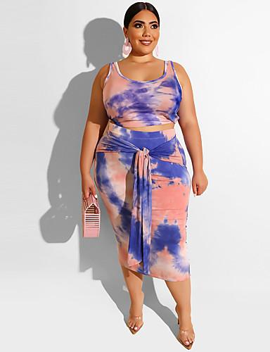voordelige Grote maten jurken-Dames Boho Elegant Recht Jurk - Geometrisch Midi