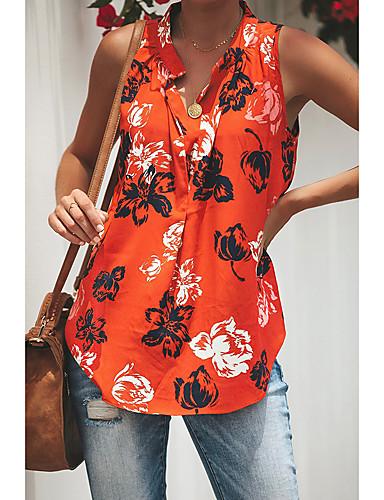 abordables Hauts pour Femme-Débardeur Femme, Fleur Imprimé Basique Orange